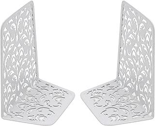 EasyPAG 6.5 Inch Desktop Bookends Carved Hollow Flower Pattern Design,White
