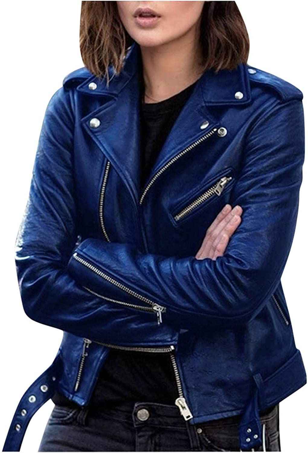 Womens Motorcycle Jacket Cool Faux Leather Short Coat Long Sleeve Zipper Coat Splicing Fit Leather Jackets