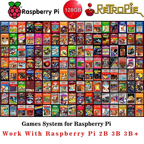 Raspberry Pi Retropie 128GB Preloaded Classic Games MicroSD Card,Fast Class 10,Premium Collection with Video Previews 3D Boxart,Works with Pi 3 Model B(Plus),Model B,Pi 3 Model A,Pi 2B etc
