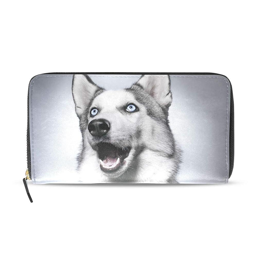 定数存在するたるみマキク(MAKIKU) 財布 レディース 長財布 本革 大容量 ハスキー 犬柄 プレゼント対応