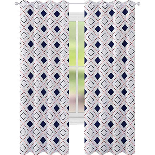 Blackout Curtains Bedroom, Geometrical Pattern with Square Shapes Dots Diamond Lines Image Print, W52 x L63 Window Curtains for Living Room, Red Dark Blue White