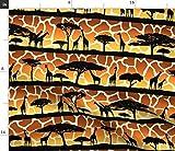 Giraffe, Tiere, Safari, Sonnenuntergang Stoffe -