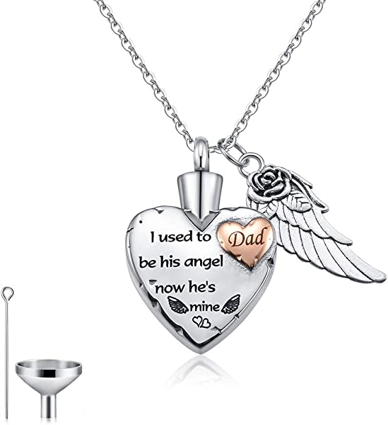 CAT EYE JEWELS God Has You In His Arms With Angel Wing And Birthstone Crystal Charm Stainless Steel Cremation Jewelry Keepsake Memorial Urn Necklace With Funnel Kit Included