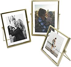 ZONYEO Set of 3 Glass Photo Frame Collection Simple Metal Geometric Picture Frame with Plexiglas Cover Includes 4