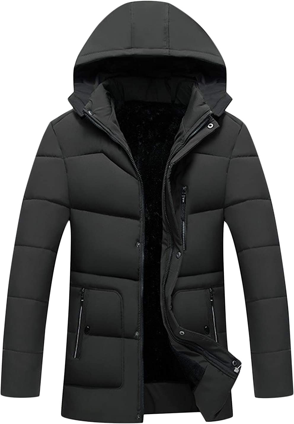 Springrain Men's Winter Warm Padded Sherpa Lined Jacket Coat with Removable Hood