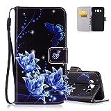 Aeeque Housse Etui de Protection pour Samsung Galaxy J5 2016 - Motif Papillon et Fleur Bleu Antichoc Simili Cuir PU Portefeuille...
