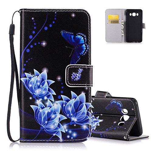 Portafoglio Custodia per Samsung Galaxy J5 2016, Aeeque Blu Farfalle e Fiore Design Flip PU Pelle Wallet a Libro Copertura Flip Cover Case Protettiva Antiurto da Esterno per Samsung J5 2016 J510