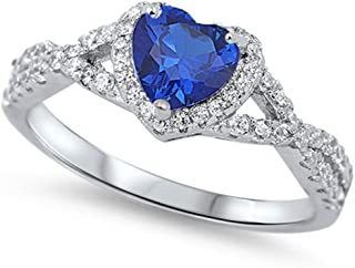 Sterling Silver Heart Halo Simulated Gemstone Promise Ring Available
