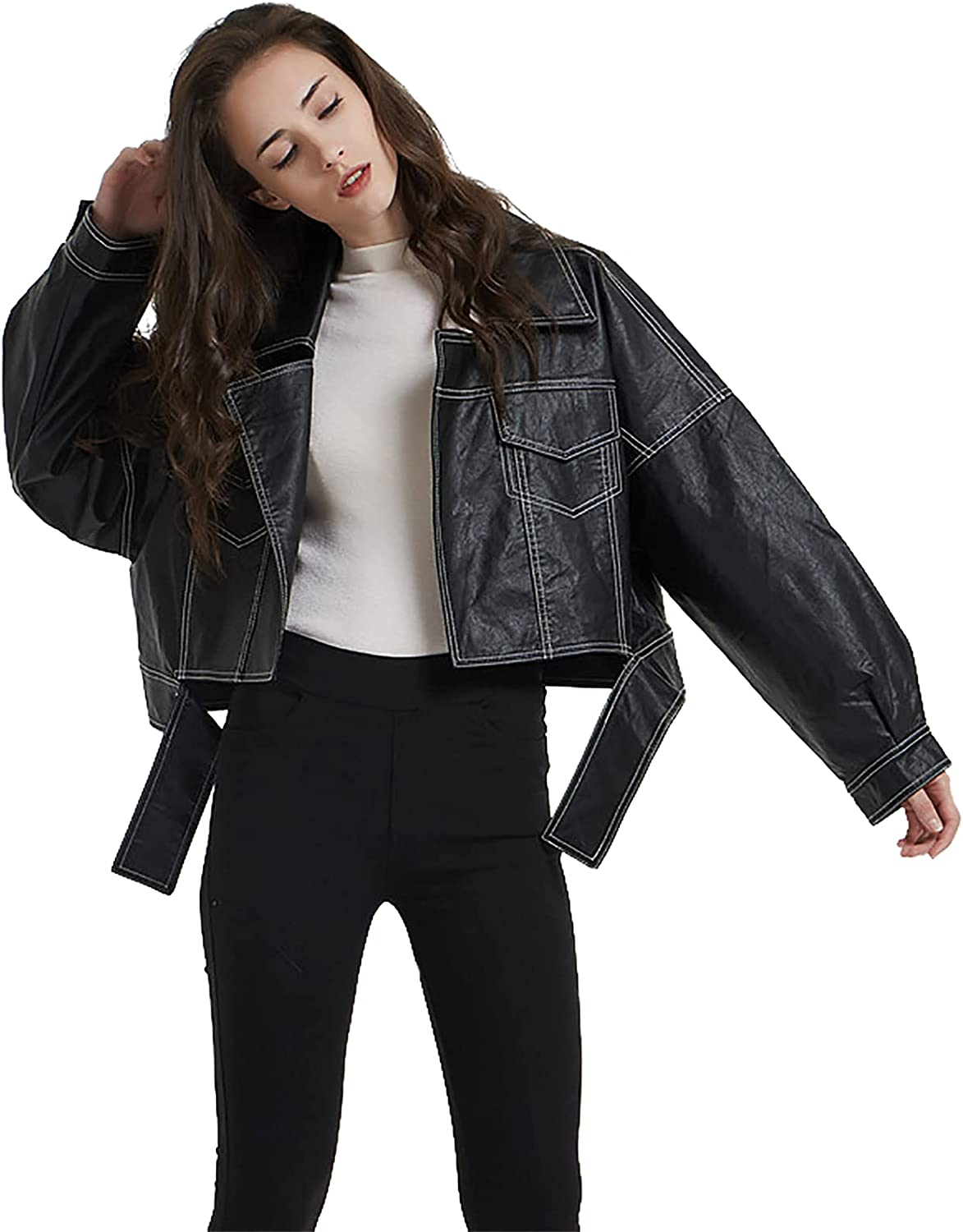BHROSE Women's Leather Lapel BF Loose Edition Street Fashion Bright line Motorcycle Jacket