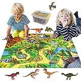 Dinosaures Jouet 16 Pièces Ensemble de Jeu Dinosaure Réaliste avec Tapis de Jeux Cadeau de Jouet éducatif pour Enfants Garçons Filles 3 4 5 6 7 8 Ans