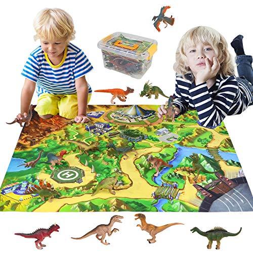 Dinosaurios Juguetes 16 Piezas Dinosaurios Figuras Juguetes con Alfombra de Juego Educativo Juguetes Regalos para Niños Juguetes Niños 3 4 5 6 7 Años
