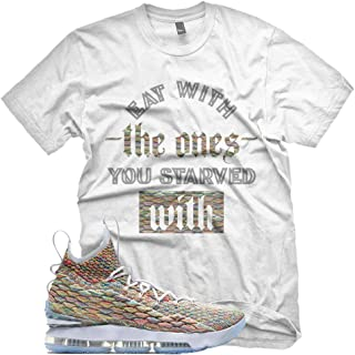New White STARVED WITH T Shirt for Lebron 15 Fruity Pebbles XV MultiColor