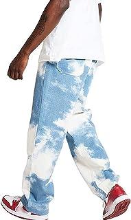 Lunaer Jeans Patchwork da Uomo Pantaloni Denim Casual Y2K Jeans Baggy Stampato a Vita Alta Pantaloni Gamba Larga Pantaloni...