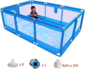 YEHL Playpen Large Baby Mesh 10-Panel Children s Security Fence with Mat  amp  Balls Kid s Safety Playard  66cm Tall  Blue