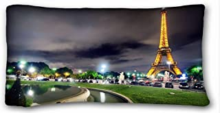 Custom Characteristic ( City france paris eiffel tower images light night hdr ) Popular 20x36 inch One Side Pizza Rectangle Pillowcase suitable for California King-bed PC-White-20037