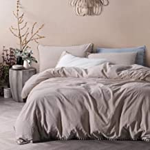 """TanNicoor Pom Fringe Duvet Cover Set - 3 Piece Natural Ultra SOFE Color Washed Cotton Bedding Set, Modern Style Down Comforter Quilt Cover with Zipper Closure King(104""""x90"""") Beige"""