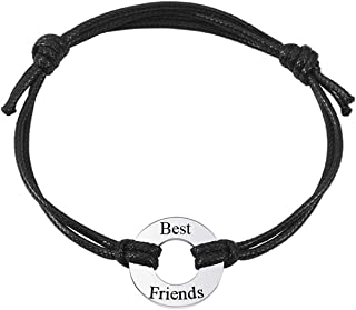 Free Engraving Custom Engraved Name Date Initial Adjustable Leather Bracelet with Stainless Steel Circle Charm for Couples Anniversary Birthday Gift