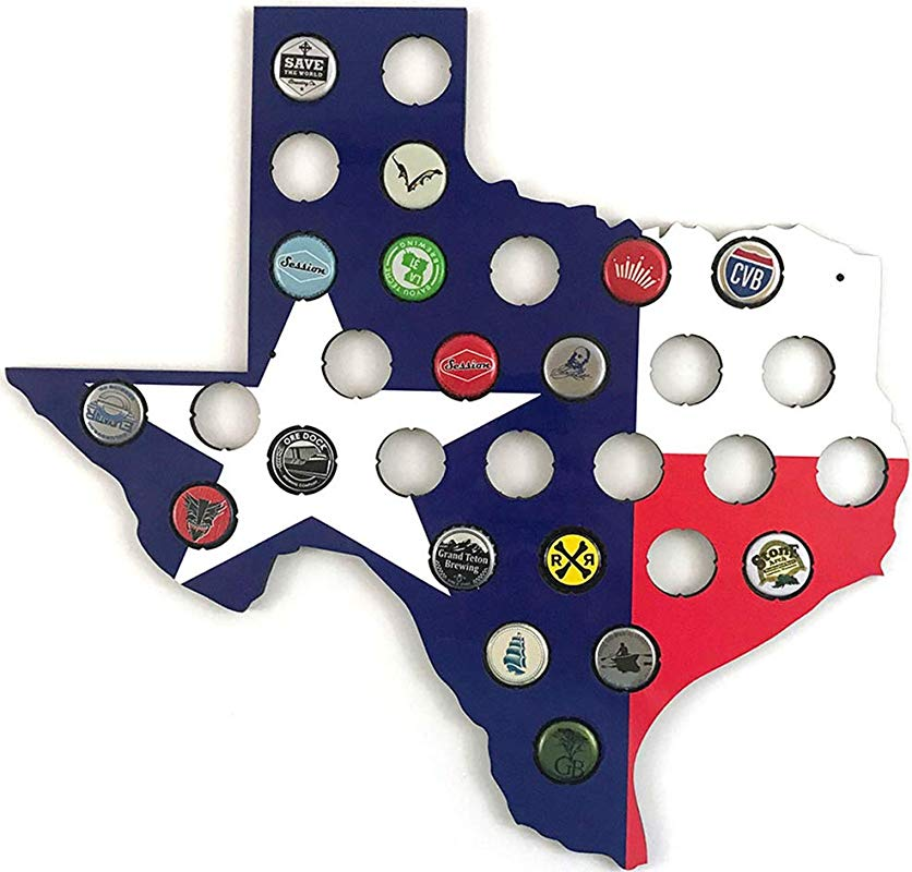 Texas Flag Beer Cap Map Glossy Craft Beer Bottle Cap Holder Display Light Weight Easy To Hang Made In USA By Barmmunition