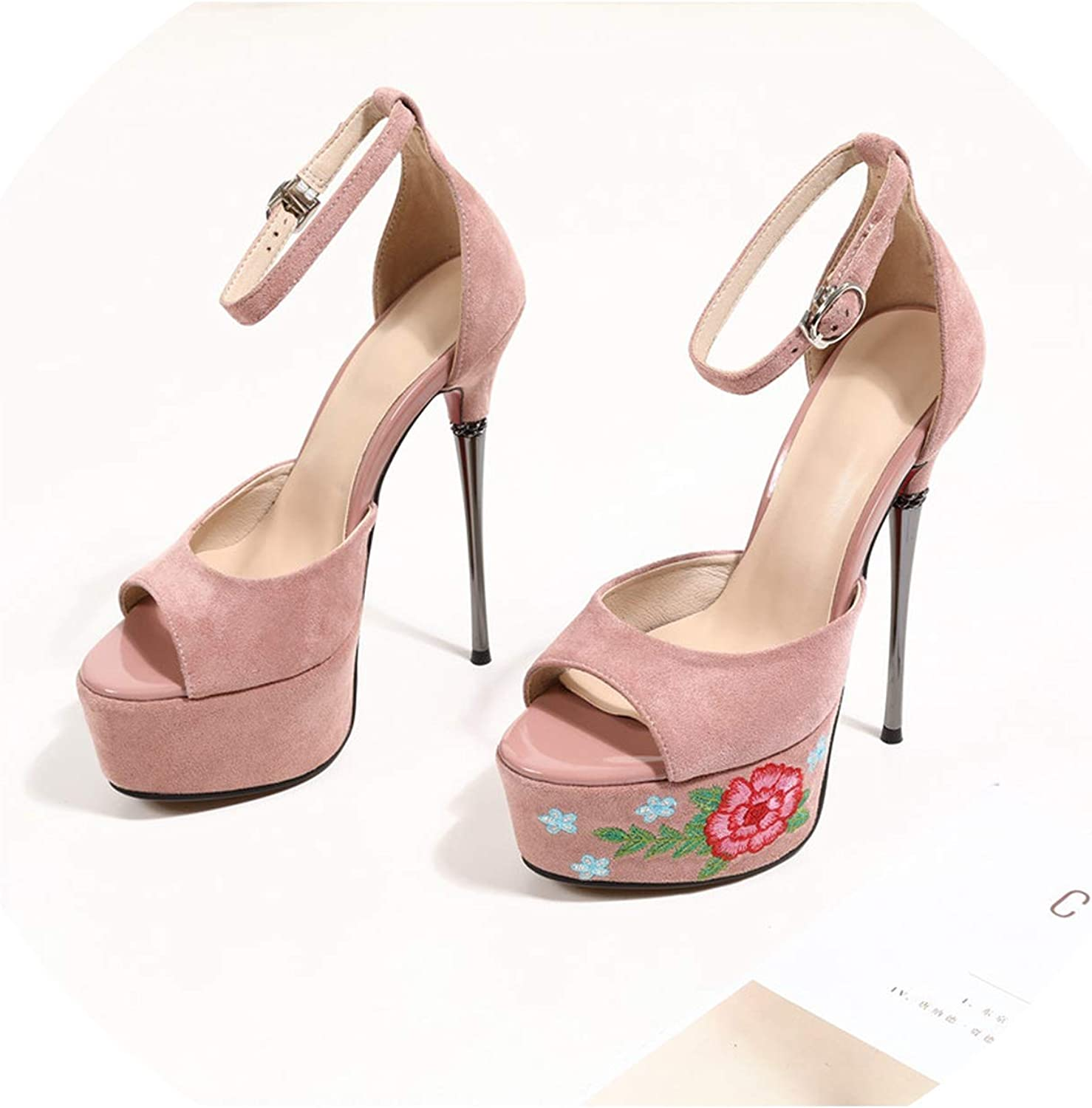 Lazy&Sexy-Heels Summer Sandals for Women Platform Ladies Prom Wedding shoes Buckle Suede Leather shoes Women Platform Sandals