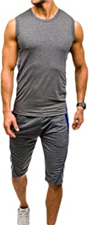 Men 2 Piece Outfits Sleeveless Tank Top Sweat +Shorts Sweatpants Jogging Sets Sportswear Tracksuit