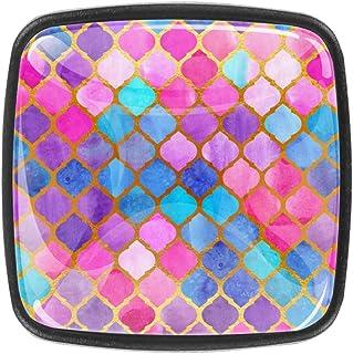 Mosaicos de acuarela abstracto patrón geométrico árabe azulejos de cristal para gabinetes de armario tiradores de armario ...