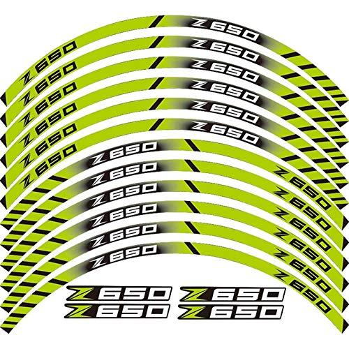 Etiqueta de la Rueda de la Motocicleta 12 PCS Motocicleta Reflectante Neumático Calcomanías Ruedas Moto Pegatinas Protección de decoración Pegatina Rim para Z650 Z 650 (Color : 19)