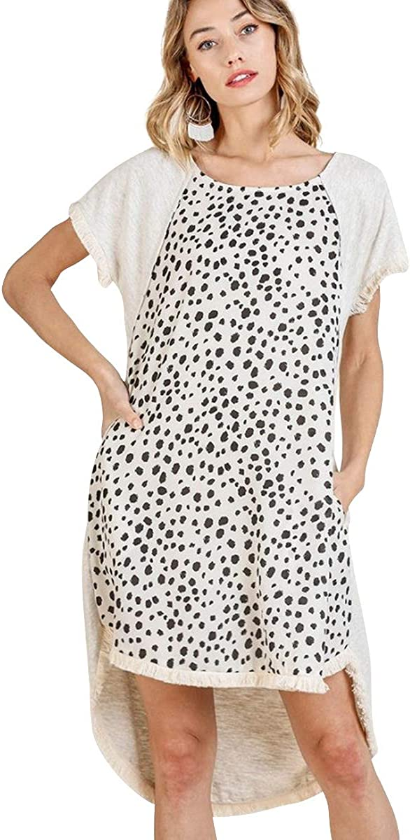 Umgee Women's Dalmatian Print Frayed High Low Pocket Dress