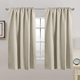 2X Blackout Curtains Pair | Blockout Back Tab/Rod Pocket Window Curtain Draperies for Living Room/Bedroom Soft Thick Tripl...