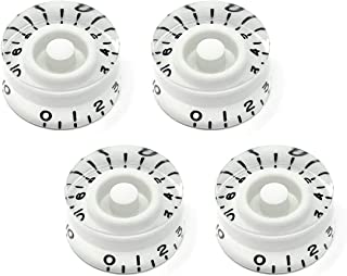 White Speed Knobs for Epiphone Les Paul SG Electric Guitar (Set of 4) | Fits 18 Coarse-Spline USA (Metric) Split Shaft Pots by VINTAGE FORGE | SK18M-WHT4