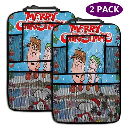 TBLHM Merry Christmas Snoopy Auto-Rücksitz-Organizer, 2 Packungen, Rückenlehnenschutz, Kinder-Kick-Matte, Auto Van Sitz Rücksitz-Organizer mit Tablet-Halterung