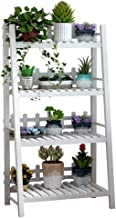 Strong Carrying Capacity Plant Stand Plant Stand Solid Wood Wood Free Interior Corner Shelf With 4 Rows, White (Size: 80cm...