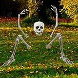 PREXTEX Gruselige Friedhofsdeko für Halloween, aus der Erde steigendes Skelett für Ihre Halloween-Deko