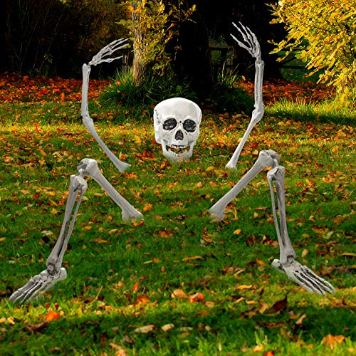 Decoración de Halloween cementerio espeluznante esqueleto saliendo de la tierra para decoraciones de Halloween