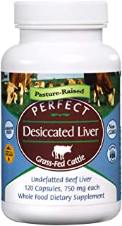 Perfect Desiccated Liver Capsules, 100% Grass Fed Undefatted Argentine Natural Beef Liver Supplements, 120 Capsules, 750mg...