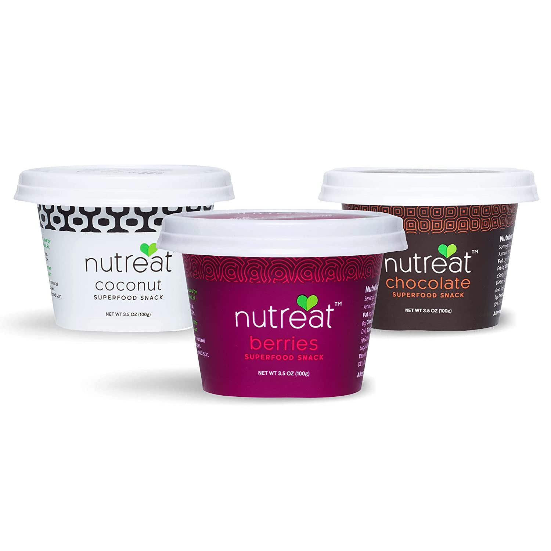 Nutreat Spoonable Diabetic Snacks to Satisfy Your Sweet Cravings and Help Manage Blood Sugar - Organic Ingredients, No Added Sugar, Gluten Free, Vegan & Keto Friendly - Variety Pack, 3.5oz - Pack of 3