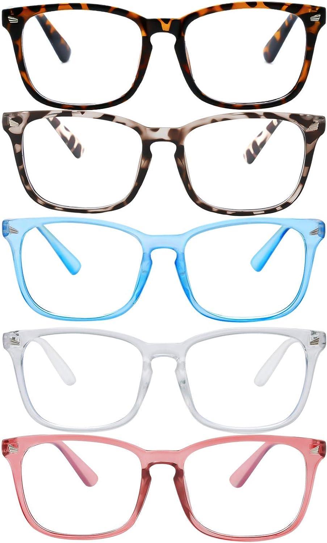Blue Light Blocking Glasses,Square Nerd Eyeglasses Frame Anti Blue Ray Computer Game Glasses Anti Eyestrain & UV(5Pcs) (Leopard/Blue/White/Tortoiseshell/Pink)