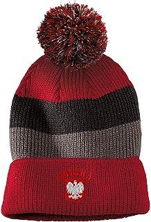 Vintage Pom Pom Beanie Poland Polska Seal Flag Embroidery Acrylic Skull Cap Hat for Men & Women Red Stripes