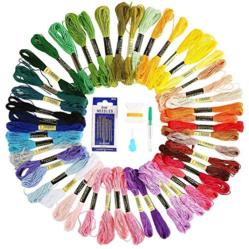 Vegena 100 Colores Hilos de Bordar, Kit de Hilos Cross Stitch Bordado Hilos Punto de Cruz...