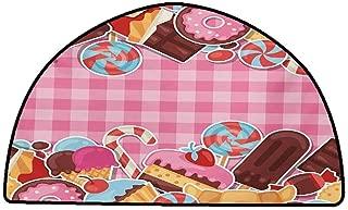 Home Bedroom Floor Mats Ice Cream,Candy Cookie Sugar Lollipop Cake Ice Cream Girls Design,Baby Pink Chestnut Brown Caramel,W31 x L20 Half Round Custom Floor mats