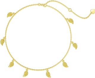 Sponsored Ad - 14K Real Gold Leaf Anklets for Women, Real Gold Beads Station Anklet Bracelet Tassel Double Foot Link Beach...