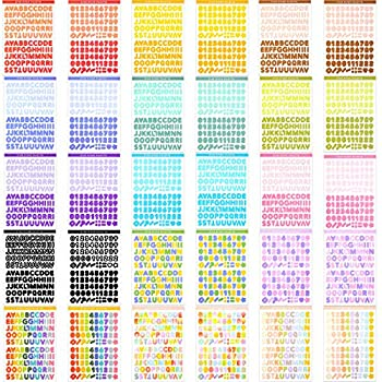 30 Sheets Colorful Alphabet Number Stickers Self-Adhesive Letter Stickers DIY Number Letter Stickers Decorative Craft Scrapbook Stickers for Arts Cards Box Home Crafts Decors Supplies