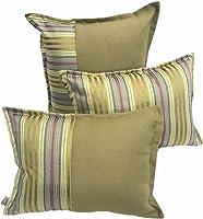 Silk Satin Striped Decorative Pillow & Cushion Cover Set | Green Satin Color | 2 piece 35X50 cm + 1 piece 50X50cm (Total...