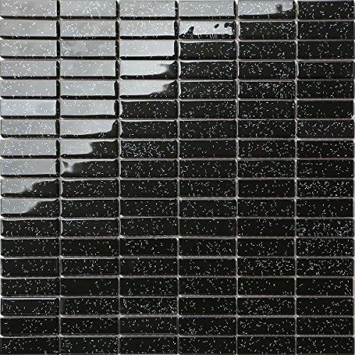 Glas Mosaik Fliesen Matte Ziegelstein Format in Schwarz mit Mehrfarben Glitzer (MT0010)