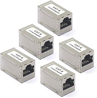 VCE 5 Unidades Empalme LAN RJ45 CAT6 Hembra a Hembra para Cable de Ethernet Acoplador LAN RJ45 apantallado