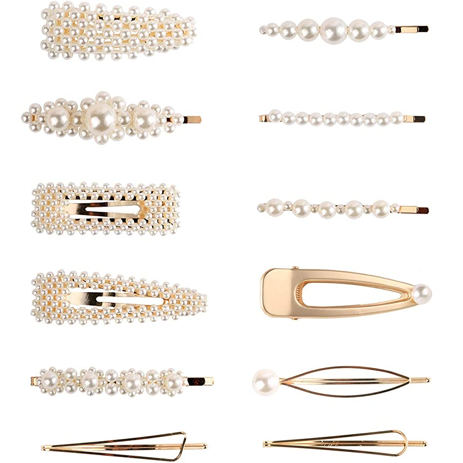 Pearl Hair Clips for Women Girls - 12pcs Fashion Sweet Artificial Pearl Alligator Clips Barrettes Bobby Pins Snap Clips Decorative Hair Accessories for Party Wedding Daily