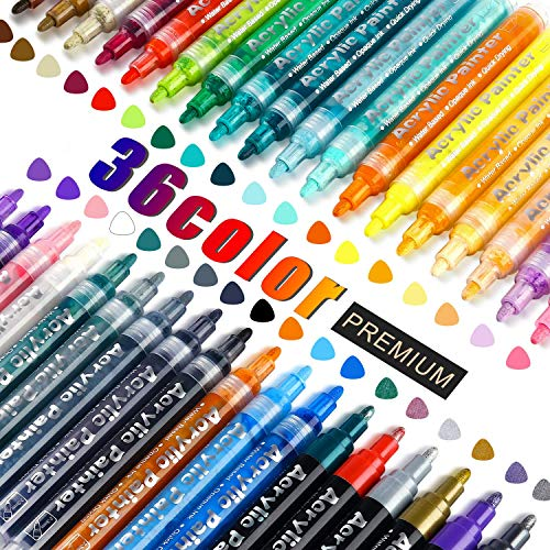 FUMILE Acrylic Paint Pens,36 Colors Paint Marker Pen Set Ideal for Rock Wood, Metal, Plastic, Glass, Canvas, Ceramic,Easter Egg and more Painting, Bright Color, Low Odor, Easy to Ink, Convenient DIY.