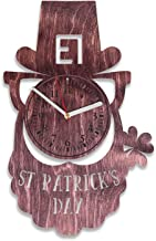 Kovides Unique Gift Idea for Dad Happy Patrick's Day Wooden Wall Clock 12 Inch Gift for Husband St. Patrick's Day Wooden Clock Gift for Man and Woman (Red)