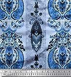 Soimoi Blau Poly Krepp Stoff Streifen & Paisley ethnisch