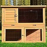 Zooprimus  Cage Clapier Enclos lapin Extérieur en bois de pin  Haute Qualité pour lapins petits animaux 116 x 63 x 97 cm - Modèle : 003 Happy