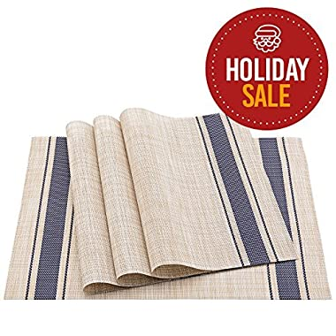 Elegant Placemat Set. Pack of 4 Italian Design Placemats (Blue)